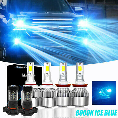 6x H11 9005 LED Headlight 5202 Fog Light Kit for 07-16 Chevy Silverado 2500 HD