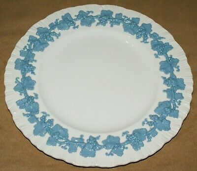 "Wedgwood Queens Ware Dinner Plate White Blue 10.50"" Inch 26.8 cm Vintage"