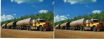 2 x 1980s SHELL PETROLEUM ROAD TRAIN TRUCKS N.T. POSTCARDS used, same image