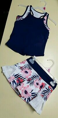 AVIA GIRL'S 2PC Athletic Skort & Tank Set Wicking Breathable XS,S,M,2XL Floral