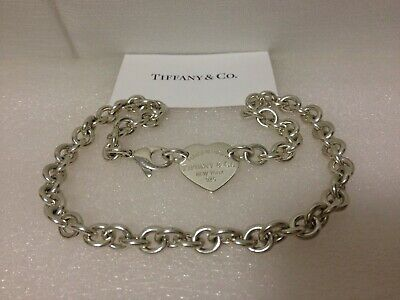 """Return To Tiffany & Co. Heart Tag Charm Necklace 15"""" In Sterling Silver"""