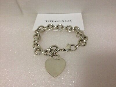 Tiffany & Co. Sterling Silver Heart Tag Charm Bracelet 7""