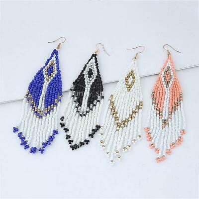 Bohemia Colorful Seed Beads Tassel Drop Earrings For Women Handmade Earrings