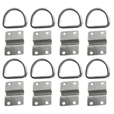 8x Stainless Steel Lashing Ring Staple Cleat Tie Down Point Boat Van Caravan