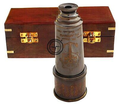 "Brass Nautical 15"" Telescope Antique Hand Held Pocket Spyglass in Wooden Box"