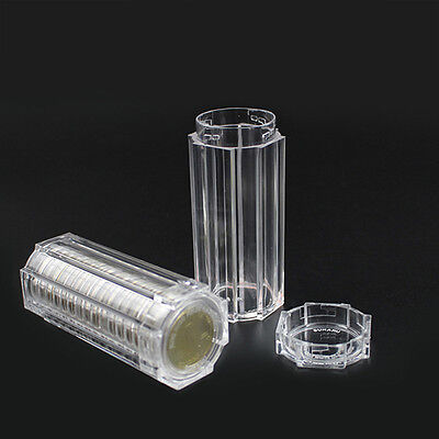 Plastic Clear Capsule Box Collection Tube Holder Case Storage For 30mm Coins Set