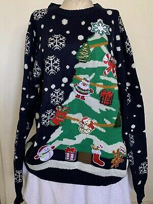 NEW - YOU LOOK UGLY TODAY Men's CHRISTMAS Tree With Patches SWEATER - XL