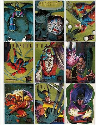1995 X-Men Fleer Ultra Marvel Hunters & Stalkers Gold 9 Card Insert Chase Set