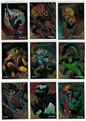 1995 Spider-Man Fleer Ultra Marvel Golden Web Complete 9 Card Insert Chase Set