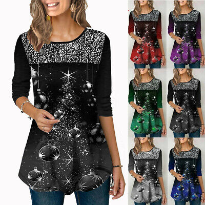 Women Christmas Party Print T-Shirt Tops Ladies Long Sleeve Casual Blouse Shirt