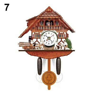 Wooden Cuckoo Wall Clock Swinging Pendulum Analog Bird Chime Bell Antique Style