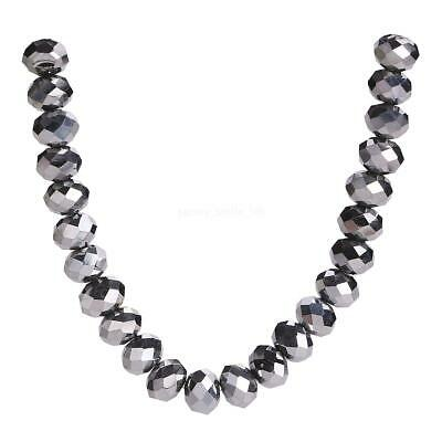 Beads Glass 3-12mm Rondelle Craft Wholesale Silver Plated Faceted Lots Loose