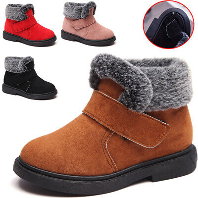 Kids Ankle Boots Boys Girl Winter Warm Boots Fur Lined Chelsea School Shoes Size