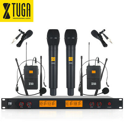 XTUGA A400 UHF Wireless Microphone System 4-CH with 2 Handheld & 2 Bodypack Mic
