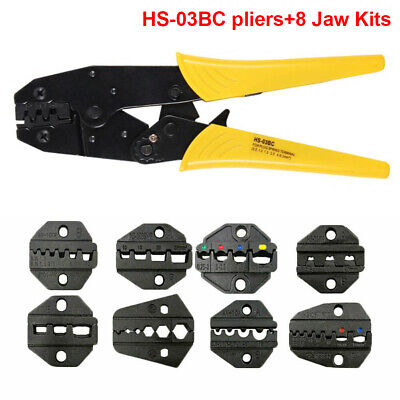 Ratchet Crimper Plier Crimping Tool Cable Wire Electrical Terminals Kit +8 Jaws