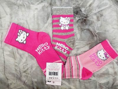3 x PRS HELLO KITTY SOCKS  MOTHERCARE UK SIZEs 9/12 - AGE 4-7 PINKS  RRP £7 bnwt