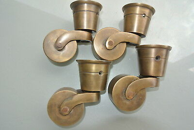 4 CUP solid 100% Brass foot castors wheel chairs tables old antique style 9 cm B