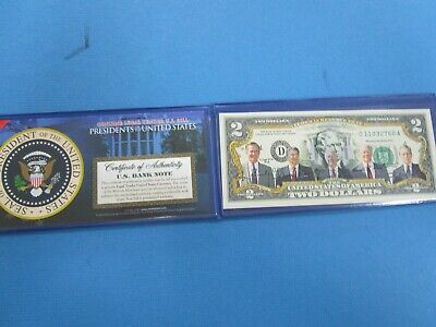 USA Colorized TWO  Dollar Collectors Note ' Gathering of Presidents Unc