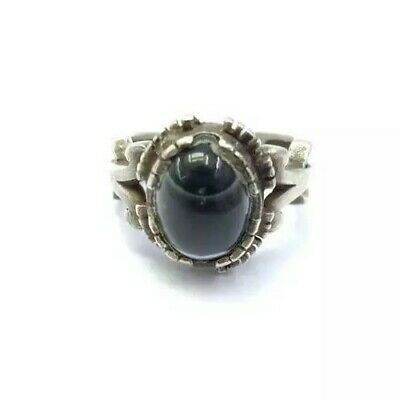 Antique Natural Sulemani Agate Ring Size 9US Sterling Silver Inlaid Persian Gems