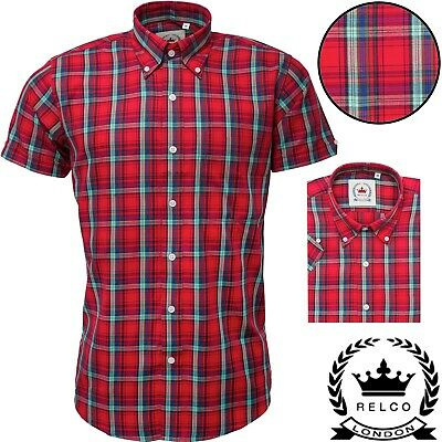 Relco Men`s Red Multi Checked Short Sleeve Shirts ck 32