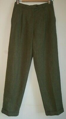 vintage Racing green pure new wool box pleated trouser slacks size 10/12