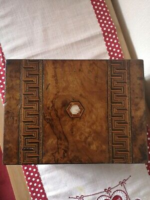 Victorian Walnut Tunbridge Ware And Mother Of Pearl Inlaid Writing Slope
