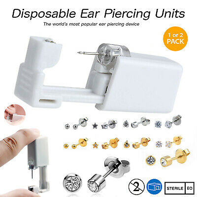 Disposable Ear Piercing Units - Silver Gold CZ Stud Earring Gun Kit DIY Home UK