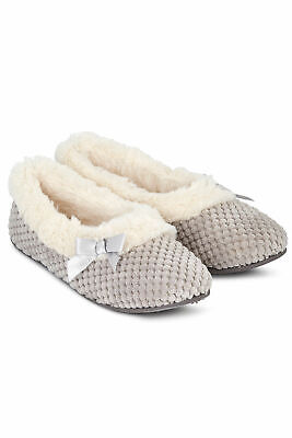 Women Faux Fur Lined Waffle Full Slippers Ladies Mule Non Slip Rubber Sole Shoes
