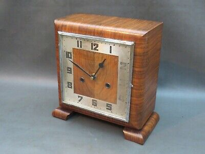 Vintage Art Deco wooden mantle clock with battery quartz movement