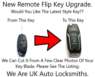 Remote Flip Key Fob Upgrade Fits Ford Focus Mondeo Transit With No Chip 433mhz