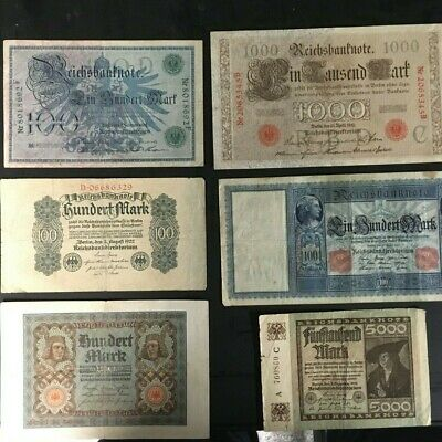 6 Different German Reichsbanknotes Bank Notes from 1908-22 VG-EX!!