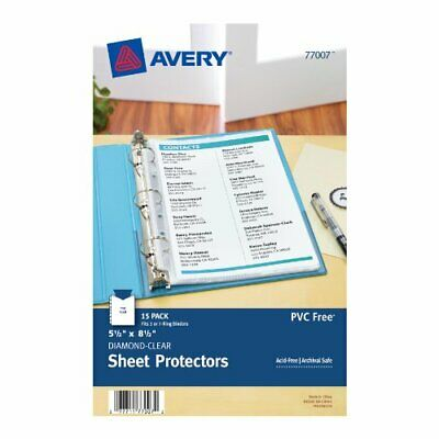 Avery Mini Heavyweight Sheet Protectors, 5.5 x 8.5 Inches, Pack of 15 (77007)