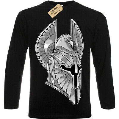 Full Armor T-Shirt spartan helmet warrior knight Mens Long Sleeve