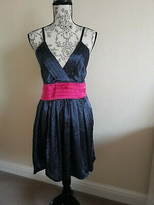 Ladies Dress Navy With Small white Polka Dots And Cerise Pink on waist size L