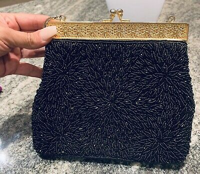 Vintage Black Glass Beaded With Gold Trimming Evening Handbag