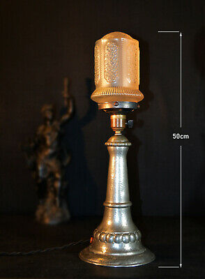 19th C Vintage Victorian hammered Pewter antique table lamp satin frosted shade