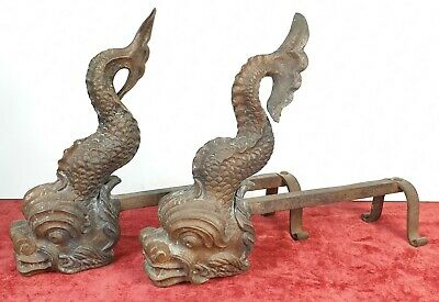Couple Of Morillos For Fireplace. Copper And Iron Forged. Xviii-Xix Century.