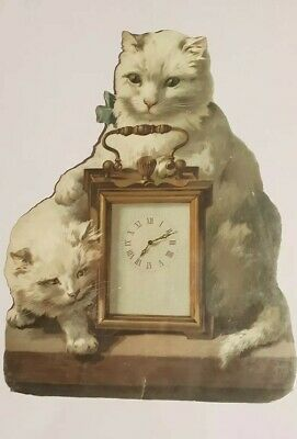 Very Large Antique Victorian Scrap of Cats with a Carriage Clock 22 x 17 cm