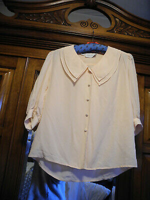 Silk Blouse - Vintage - Peach - Size 10