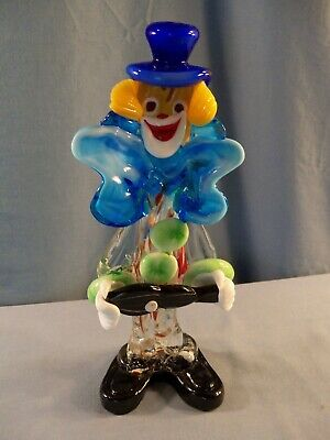 "Murano Glass Clown Figurine - 10"" Tall"
