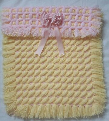 Pink Lemon  Criss Cross Non Pom Pom Baby Boy Pram Blanket With Removable Bow