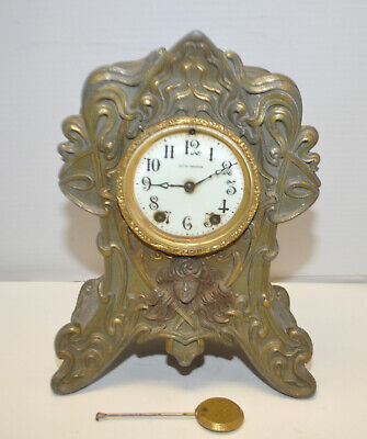 Antique Seth Thomas Art Nouveau Medusa Head Mantel Clock for restoration