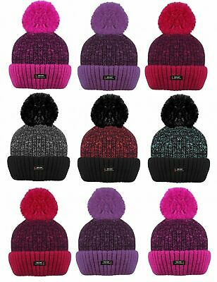 Kids Girls Boys Children BOBBLE Thermal Insulated Pom Pom Hat Warm Fleece Lining