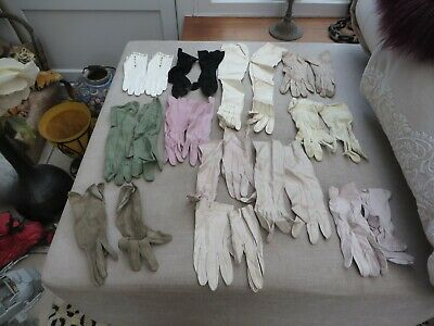 12 Antique quality pairs of ladies kid leather/suede gloves stunning stylish