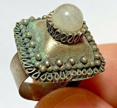 RARE LATE MEDIEVAL SILVERED RING SUPERB RARE STONE 7.2gr 30mm (inner 20mm)