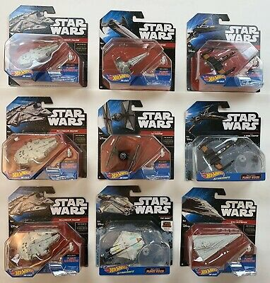 Lot Of 9 Star Wars Hot Wheels Die-Cast Starships 3 Millennium Falcons + Others
