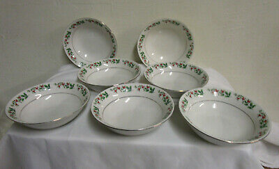 """Gibson Everyday Christmas charm Holly Berries set of 7 Bowls 6 1/2 x 2"""""""