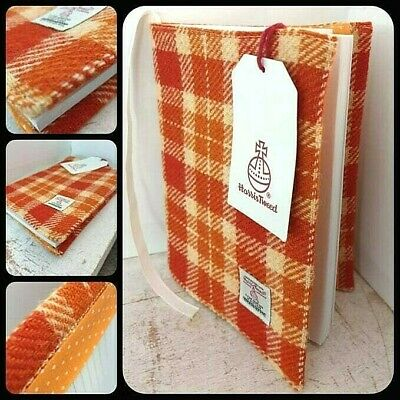 Harris Tweed A5 Book Cover Orange Cream Check Cotton Lining Jacket Sleeve Diary