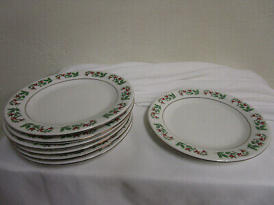 """Gibson Everyday Christmas charm Holly Berries set of 7 Salad Plates 7"""""""