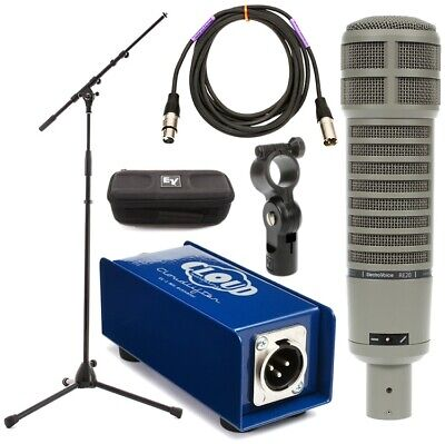 Electro-Voice RE20 Broadcast Microphone with Stand, Cable, and Cloudlifter